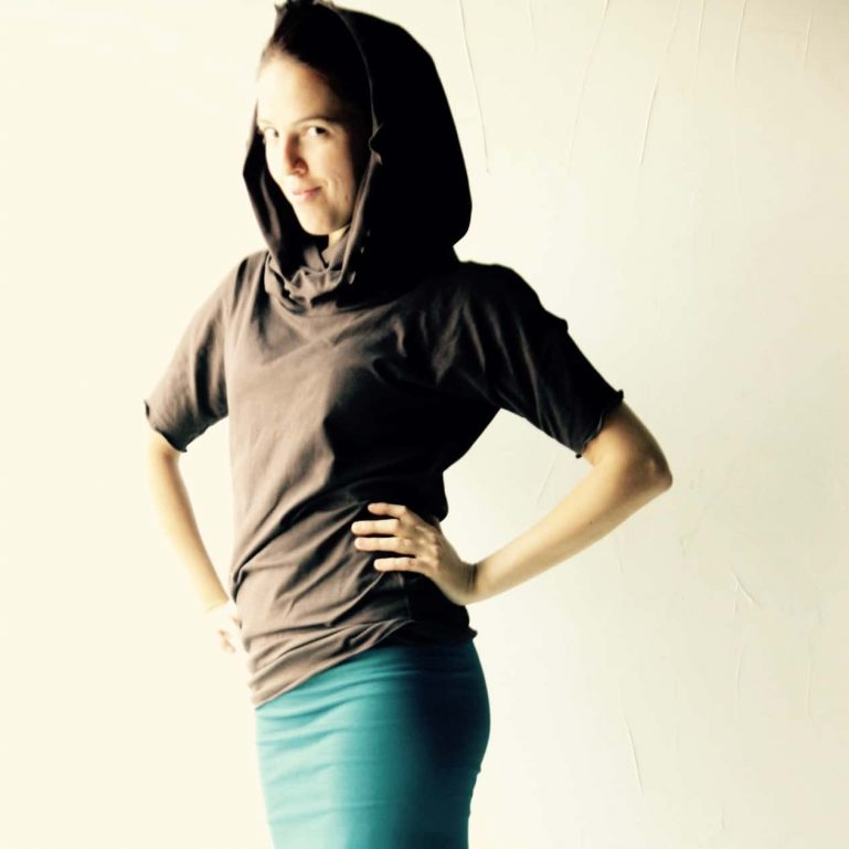 Cotton jersey cowl top