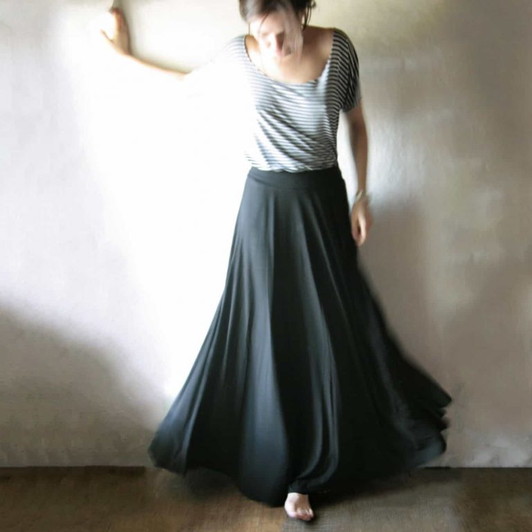 Long black maxi skirt ~ Handmade half circle skirt by Larimeloom