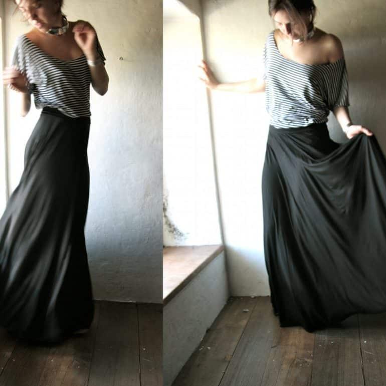 Maxi Skirt, Long skirt, Boho skirt, Floor length skirt, Black skirt, winter skirt, Strapless dress, Jersey skirt, Circle skirt, Maternity