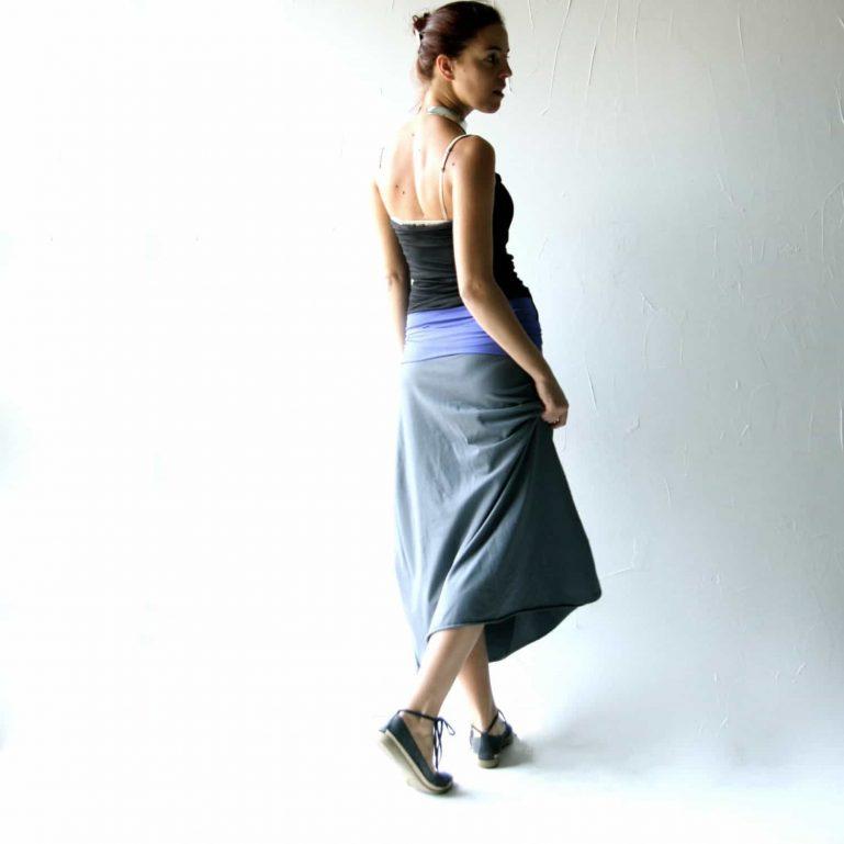 Stretch cotton A-line maxi skirt