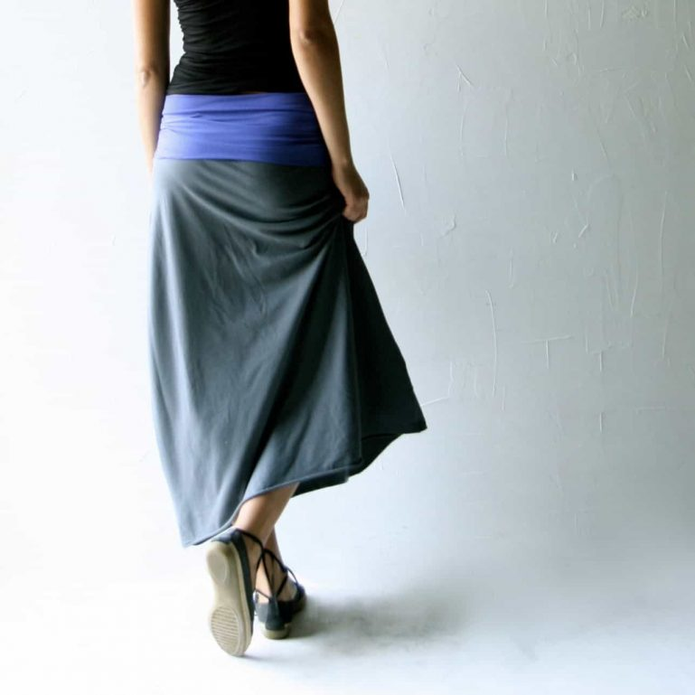 A-line maxi skirt in stretch cotton