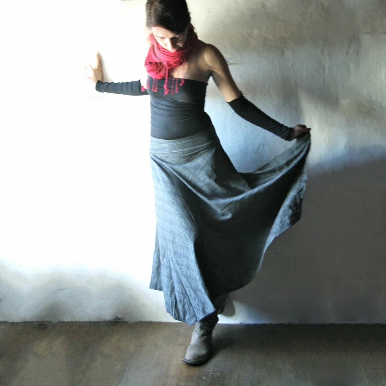 Wool maxi skirt