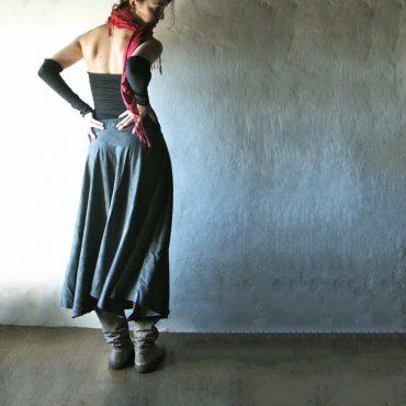 Maxi Skirt, Long skirt, wool skirt, Boho skirt, Floor length skirt, Tartan skirt, Winter skirt, Circle skirt, Maternity, Grey skirt, a-line