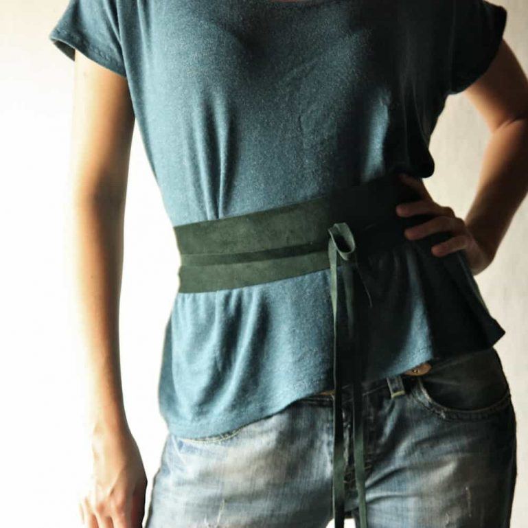 Obi Belt, Leather belt, Womens belt, Green belt, Wide belt, Womens accessories, Tie belt, Wrap belt, Steampunk corset, Medieval belt, Larp