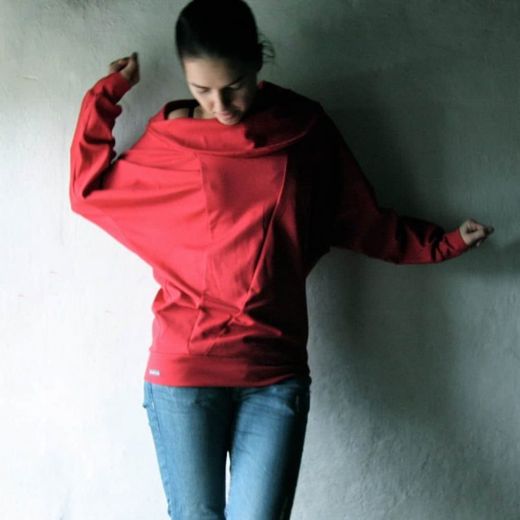 Red top, Sweatshirt, Jersey top, Cotton Sweater, Long sleeved Cowl top, Plus size top, Dolman Sleeve, Maternity top, Women clothes, Hipster