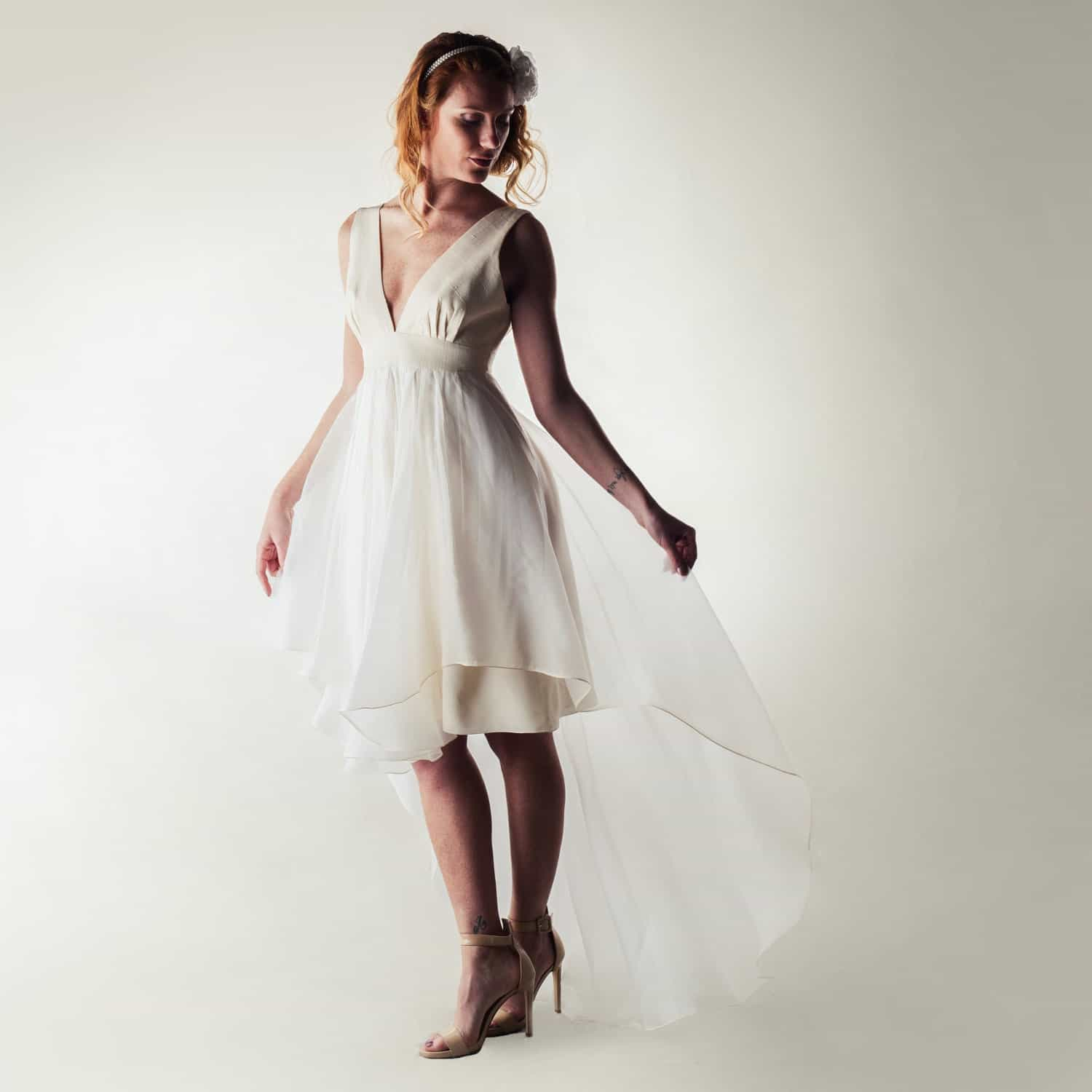 Short Wedding Dress High Low Modern Boho V