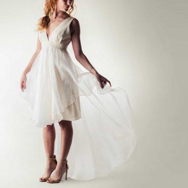 Short wedding dress, High-low wedding dress, Modern boho wedding dress, v-neck wedding dress, Simple wedding dress, Beach wedding dress,