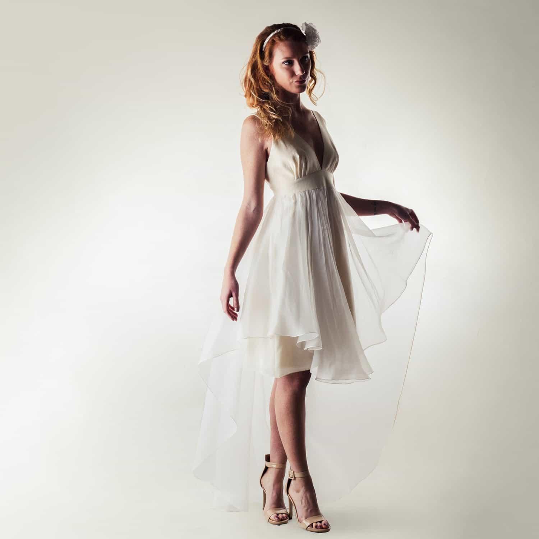 V-neck Wedding Dress With High-low Hem