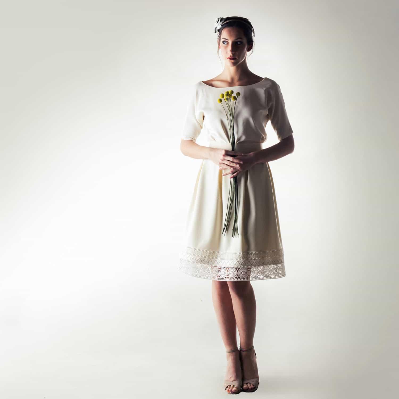 2ba9f645e60c Short winter wedding dress in wool and silk - Larimeloom