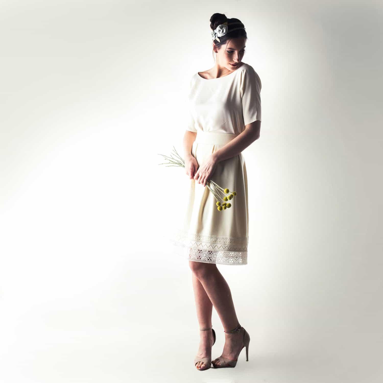 Zinnia Elbow sleeve short wedding dress Larimeloom