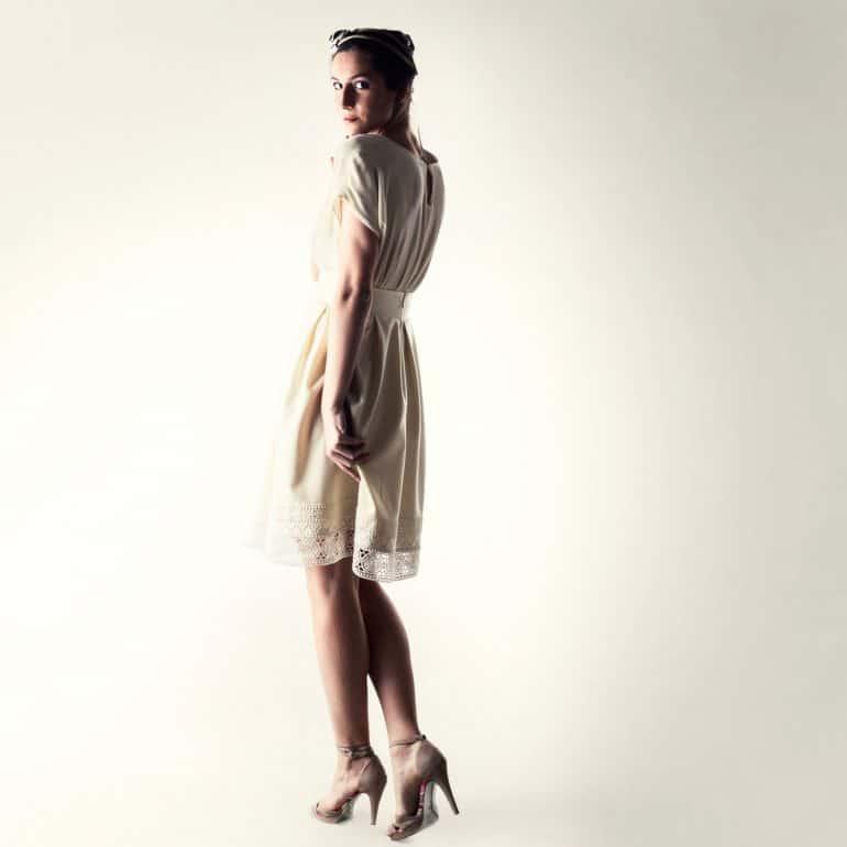 Modest short winter wedding dress