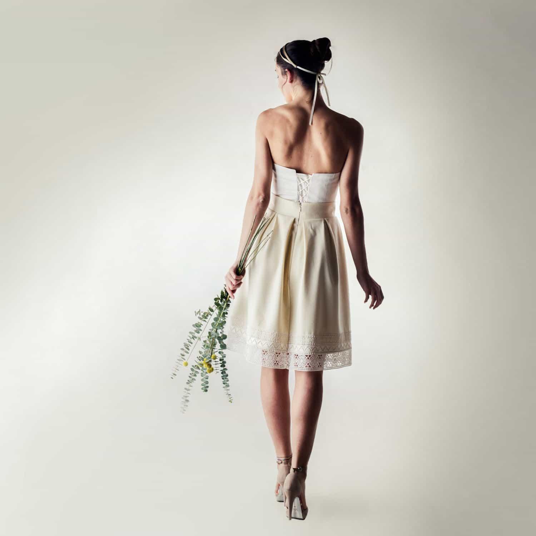 Short winter wedding dress in wool and silk