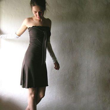 A-line strapless jersey dress