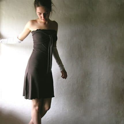 Strapless dress, Cotton dress, Brown dress, Halter dress, Tunic dress, Cotton tunic, Womens dress, a-line dress, Custom dress, Handmade