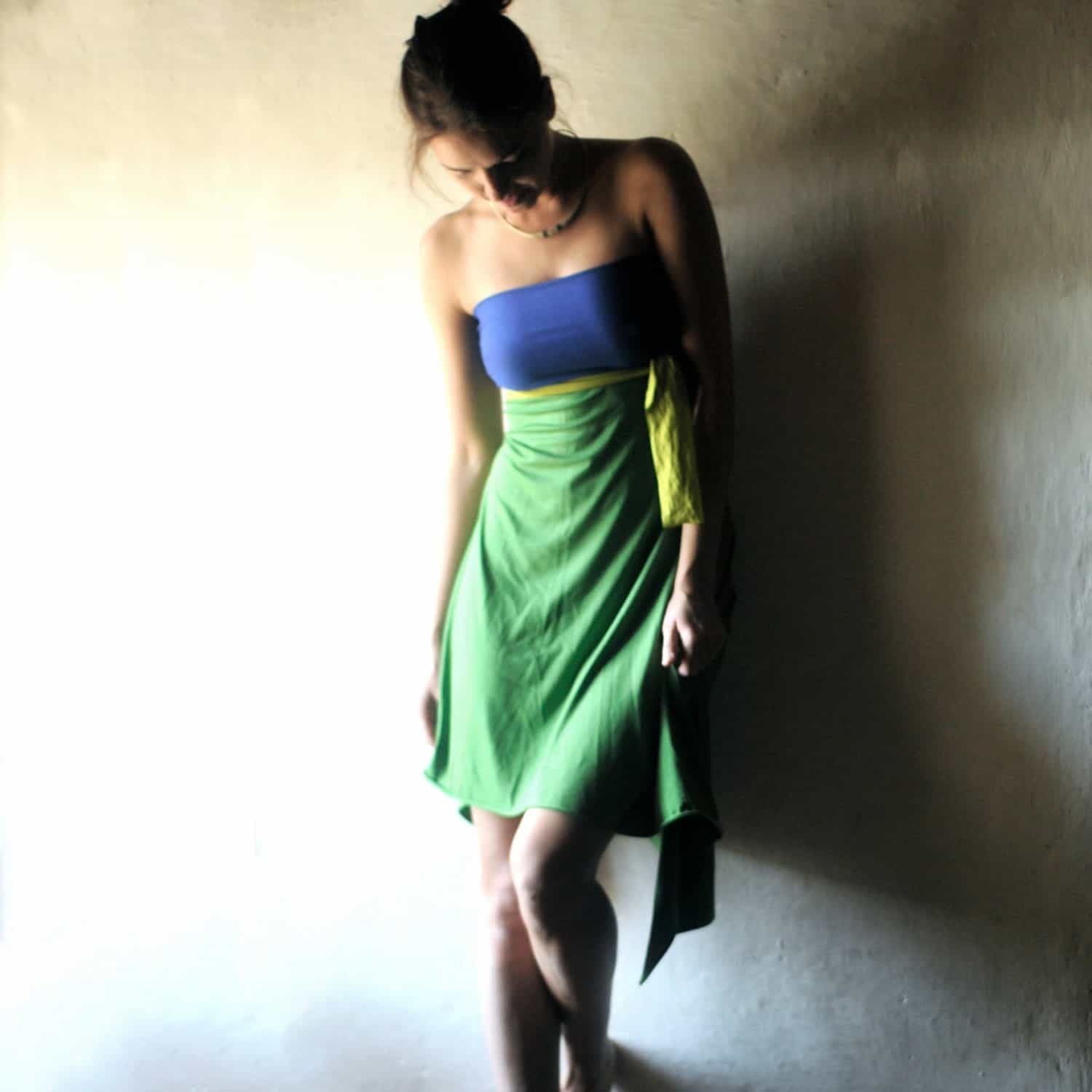 Strapless Backless Summer dress ~ Larimeloom Handmade Clothes