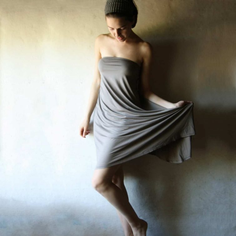 Strapless jersey cotton dress