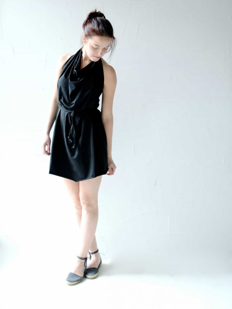 Tunic dress,  Black dress, Jersey dress, halter dress, Mini dress, Day dress, Plus size top, Maternity clothes, womens dress, Draped dress