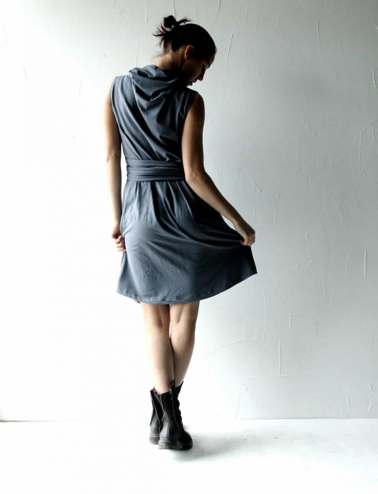 Cowl tunic dress with belt