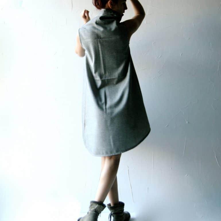 Asymmetrical wool tunic dress