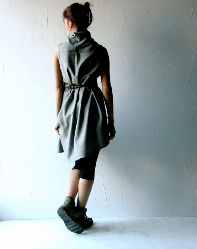 Asymmetrical wool tunic dress