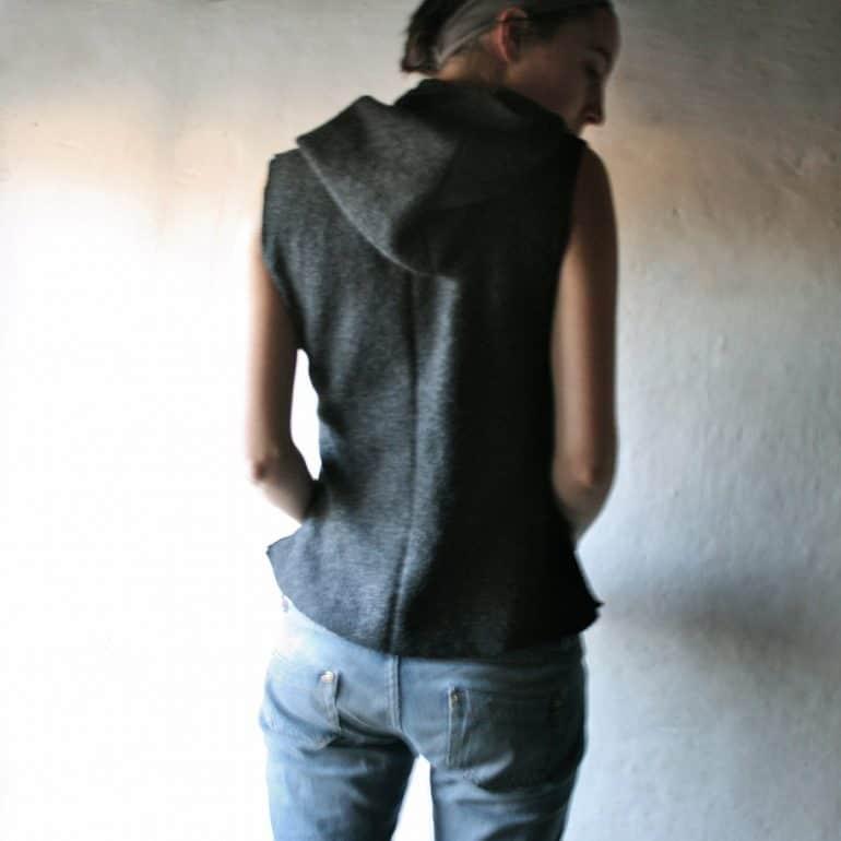Wool sleeveless hooded vest