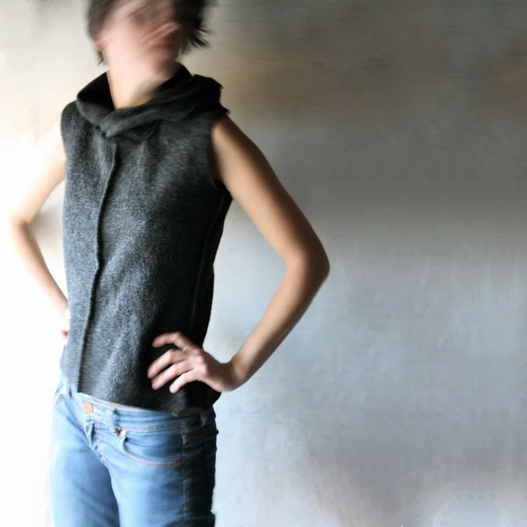 Wool sleeveless hooded vest