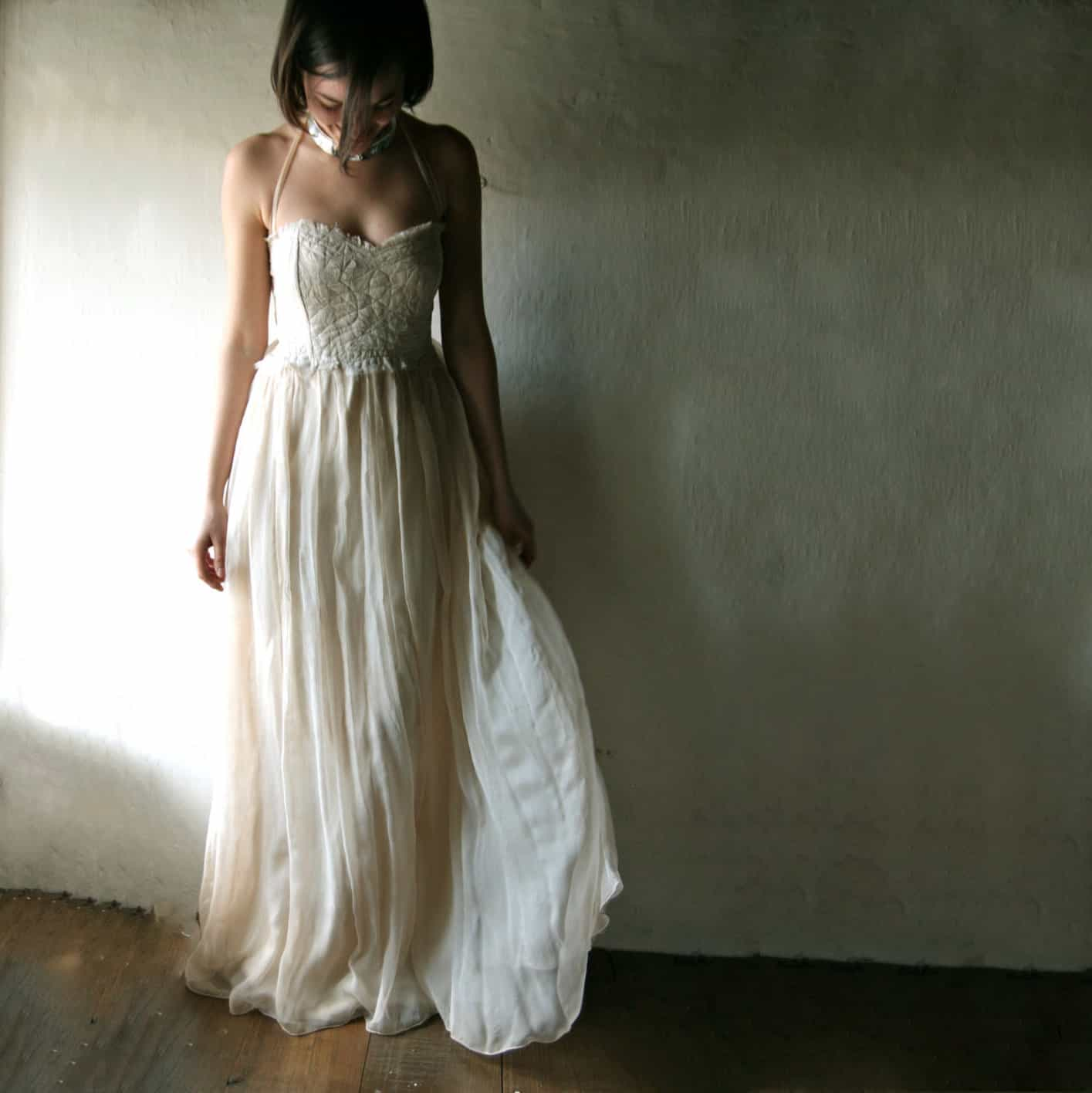 Rustic boho wedding dress for outdoor beach weddings, handmade in italy