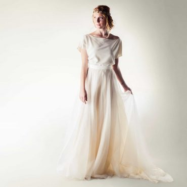 Silk two piece wedding dress