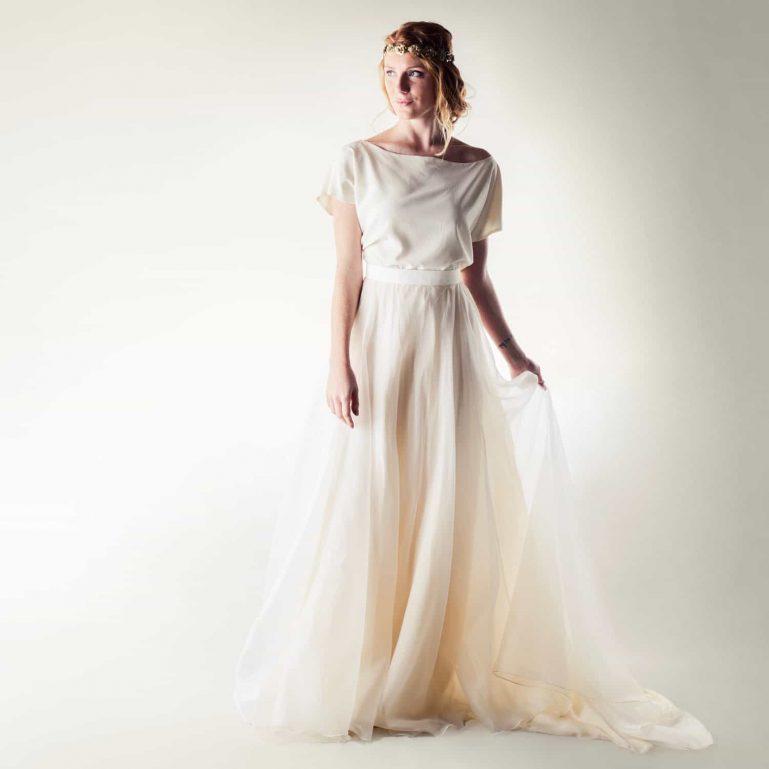 Silk two piece wedding dress