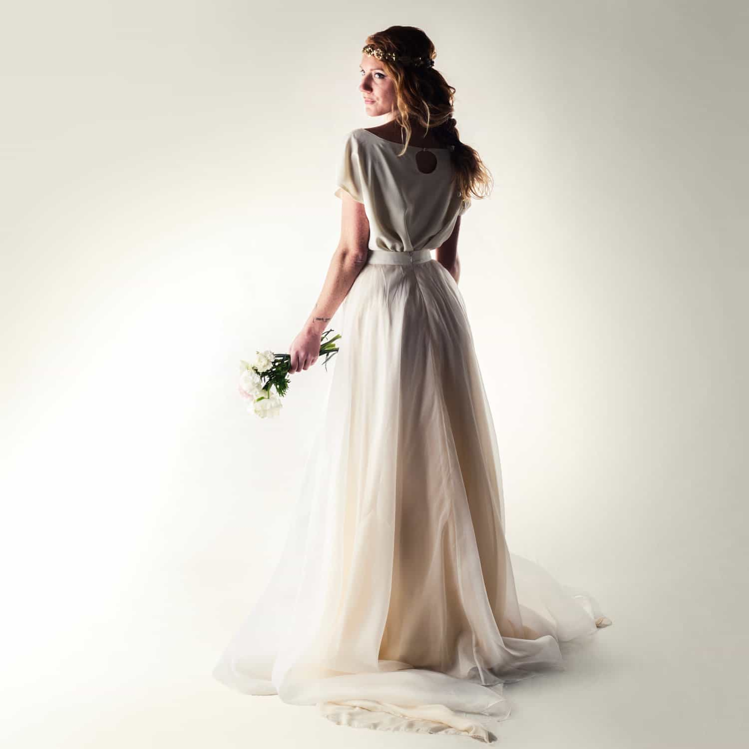 Silk two piece wedding dress ~ Dandelion | on Larimeloom.com