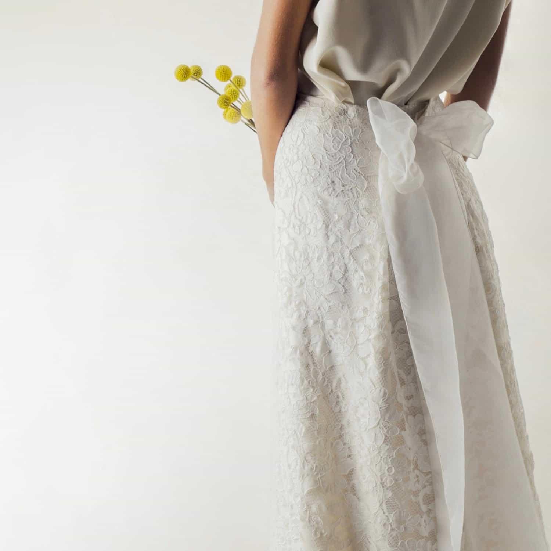 Lace and silk bridal skirt - Larimeloom Handmade Wedding Dress