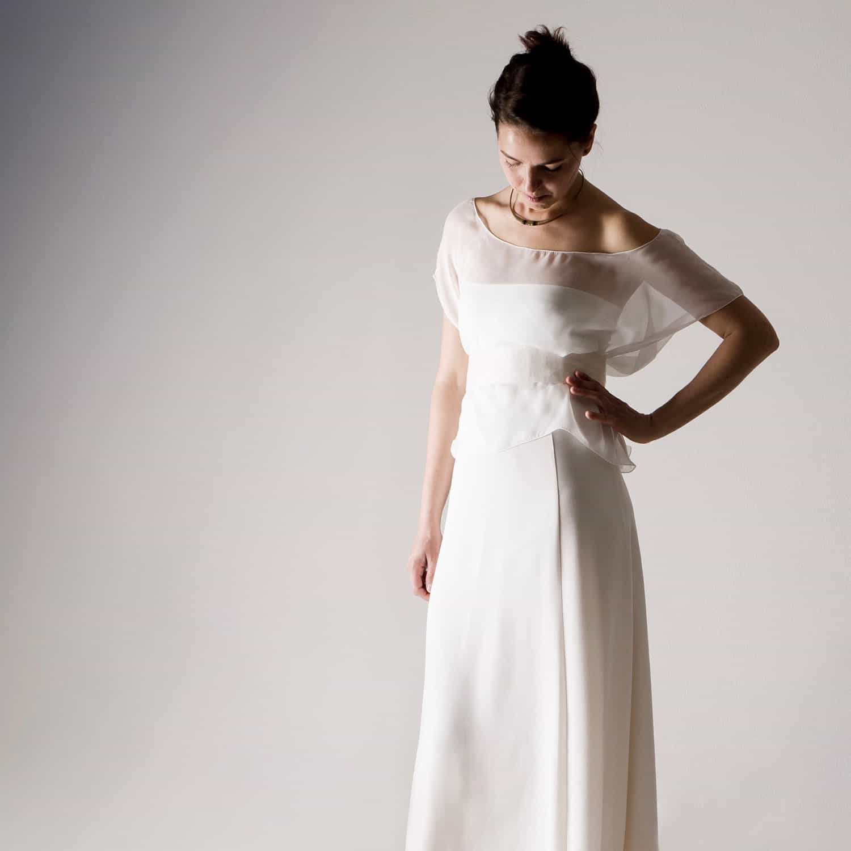 Hortensia Sheer Silk Chiffon Wedding Blouse Larimeloom