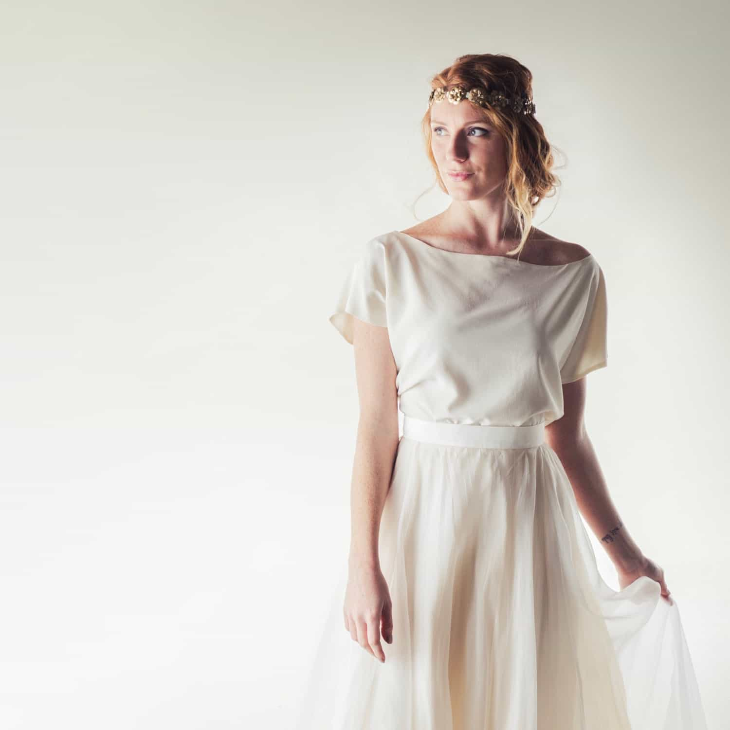 Wedding Gown Tops: Silk Crepe De Chine Blouse - Larimeloom