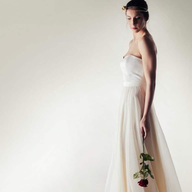 Silk bridal corset bustier