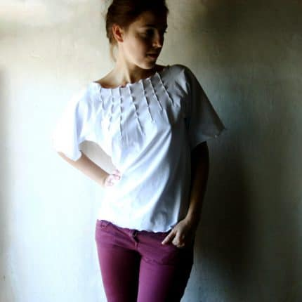 White top, Cotton top, Blouse, Shirt, White shirt, Cotton blouse, Jersey top, Short sleeve top, Medieval blouse, maternity top, Custom top