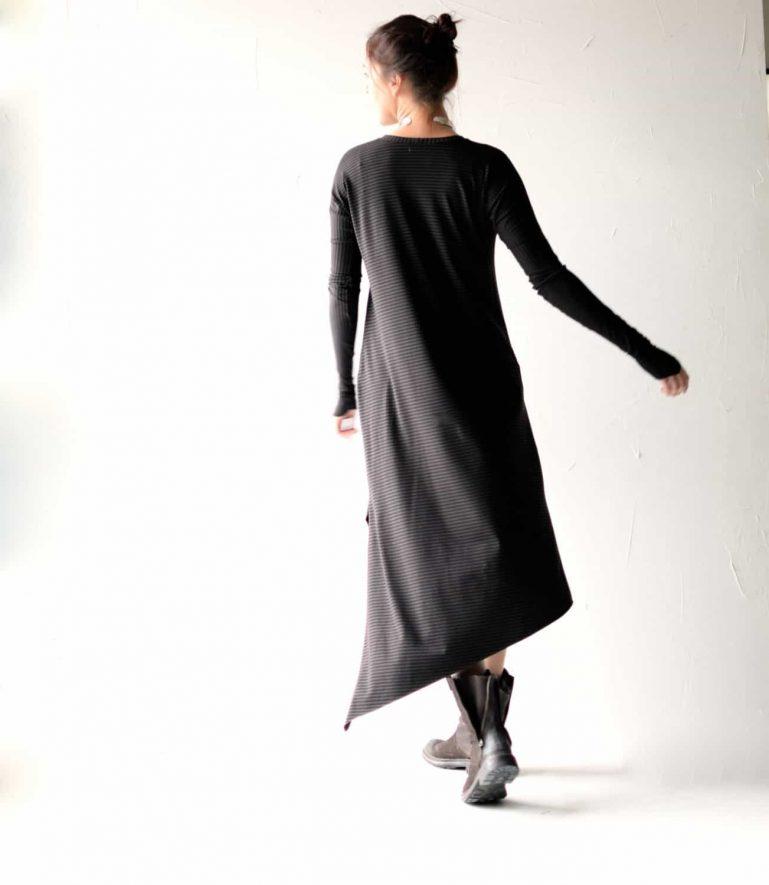 Asymmetrical long sleeve cotton dress