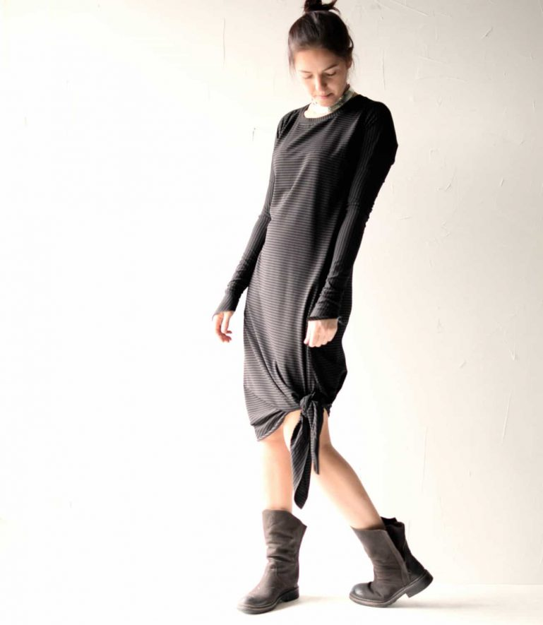 Asymmetrical long sleeve cotton dress