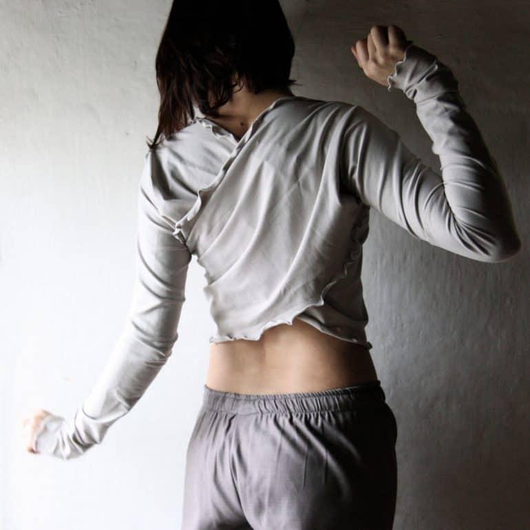 Wrap top, Long sleeve shrug, Crop top, Shrug bolero, Grey Shrug, Women clothing, Yoga clothing, Dance clothes, Ruffled top, jersey top, tank