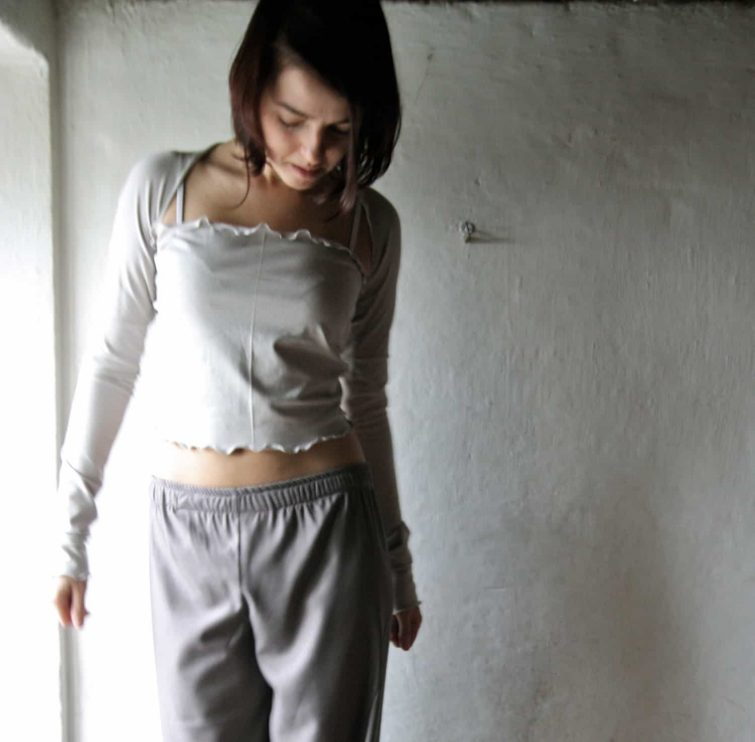 Cropped Wrap top ~ Long sleeved shrug by Larimeloom