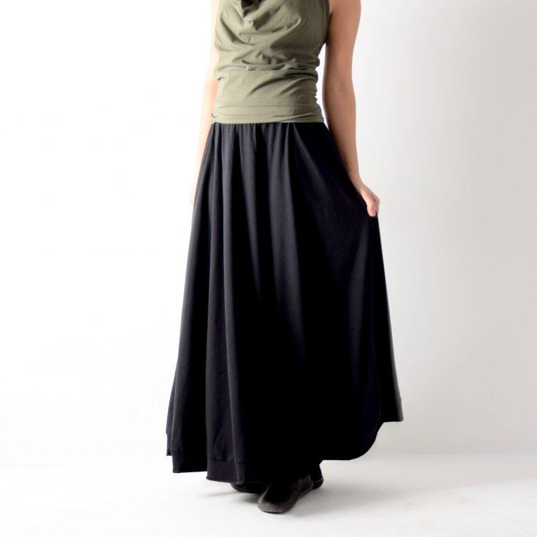 Long black maxi skirt ~ Handmade half circle skirt by Larimeloom
