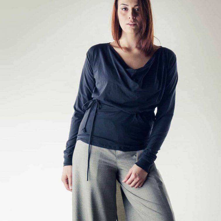 Cotton long sleeve draped blouse