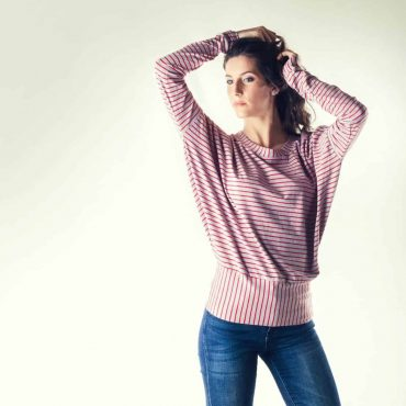stripy batwing top