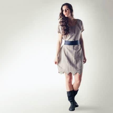 Linen tunic dress, Natural linen tunic, Summer dress, Scalloped bubble dress, Women's Ecru dress, Short Summer dress, Flax dress, Sundress
