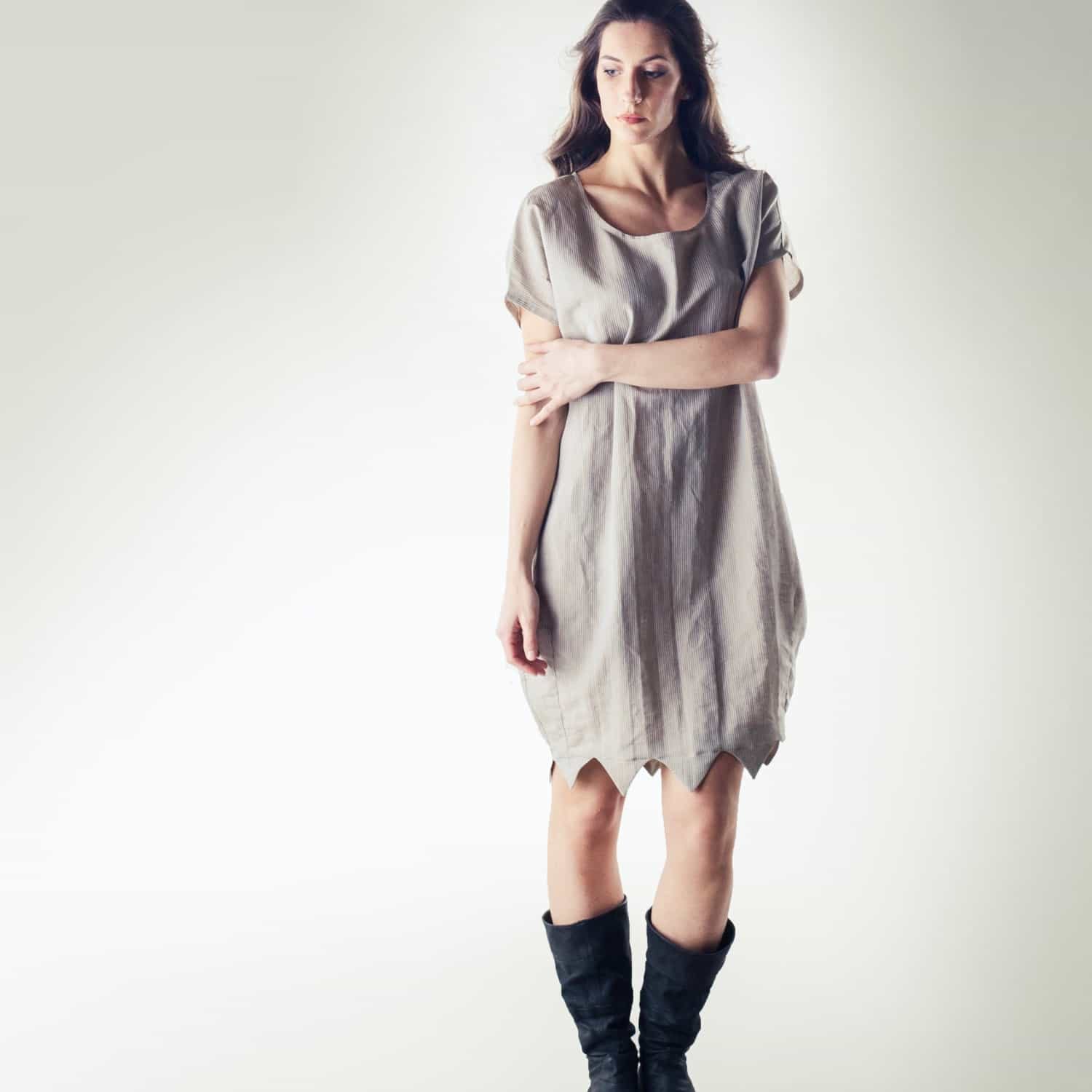 Natural linen tunic dress - made in Italy - Larimeloom