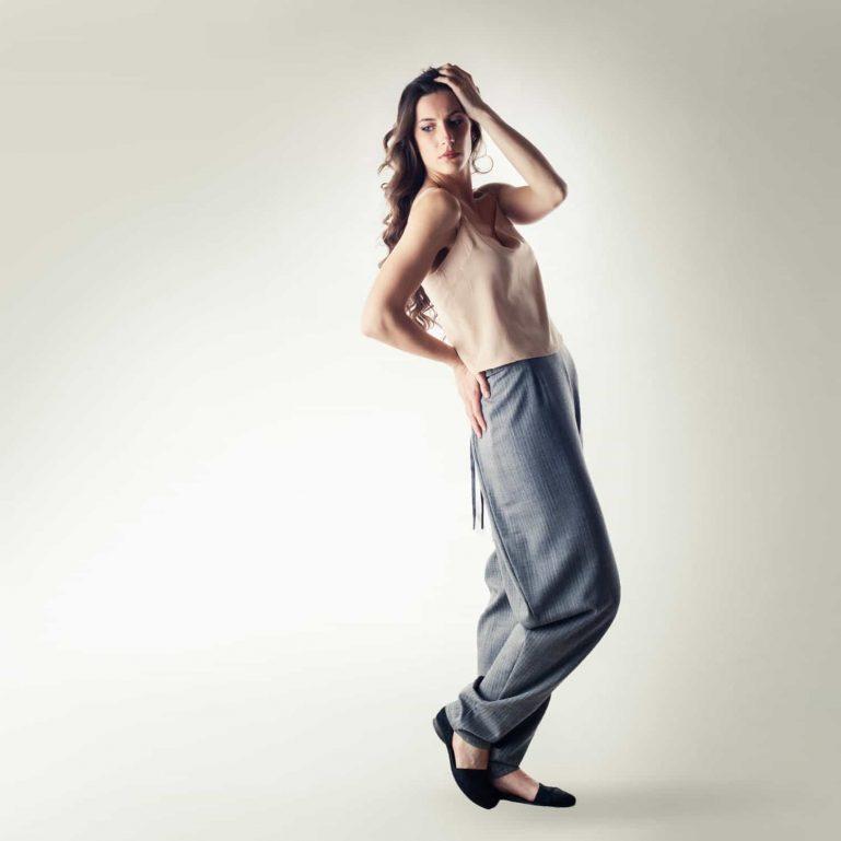 Grey folded Jodhpur pants