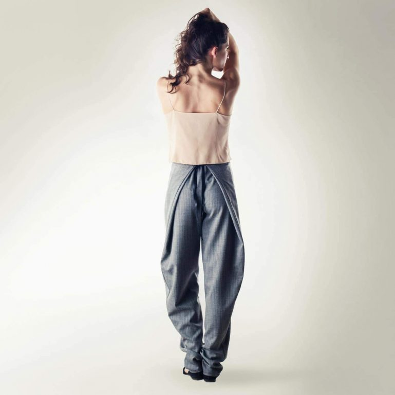 Grey folded Jodhpur pants