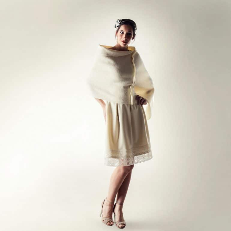 White wool wedding cover-up