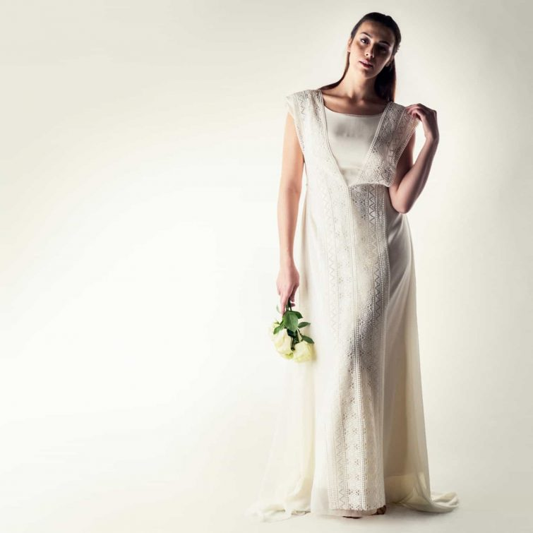 Silk tunic wedding dress