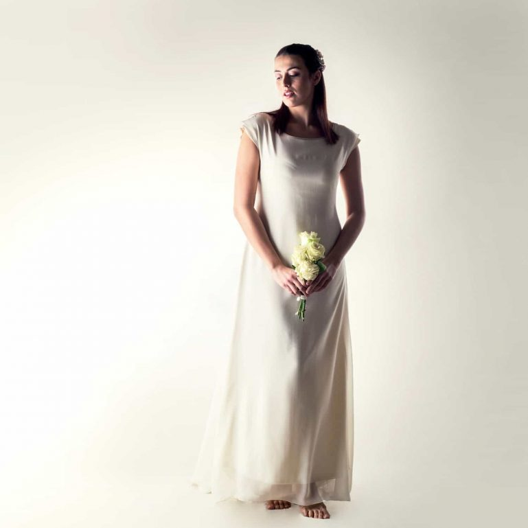 Silk tunic wedding dress