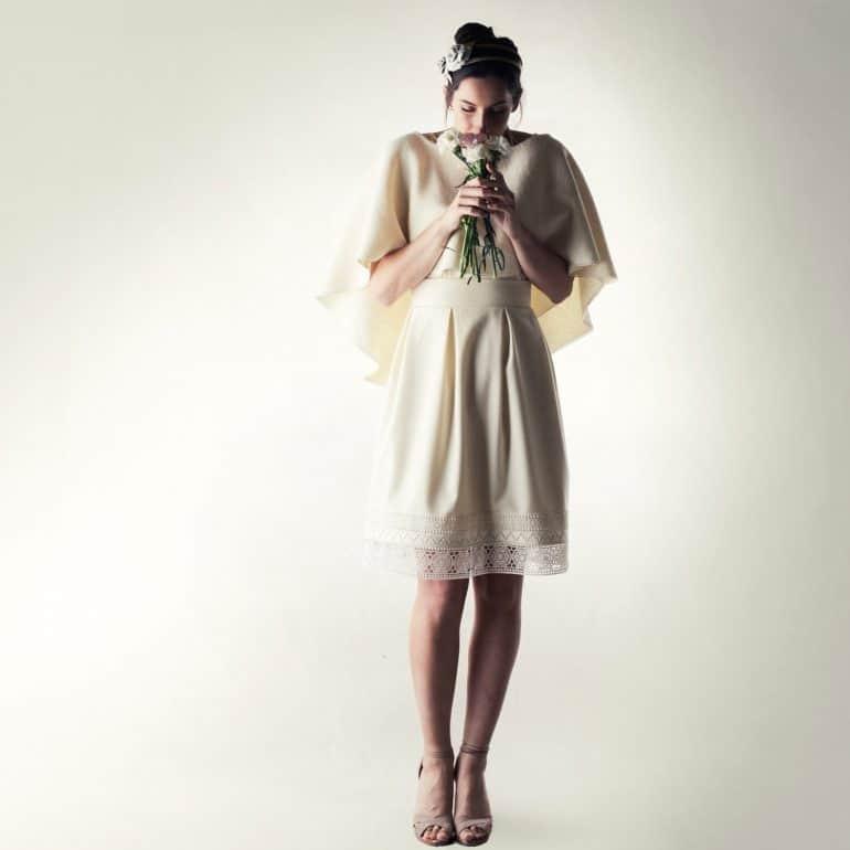 Bridal wedding cape in wool